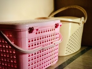 Plastic baskets that are necessary for eco-friendly apartment living.