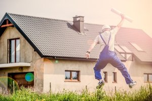 Man Jumping Home Renovation - There are many upsides of friends helping you renovate your home.