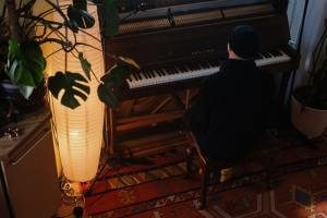 a person playing a piano plant and lamp