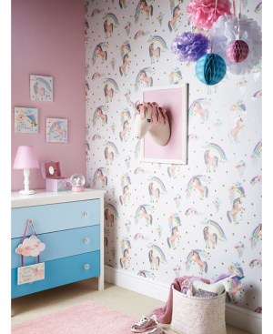 unicorn glitter rainbow arthouse bedroom unicorns wallpapers rainbows background decor pink homedepot decorating wallcovering magical rooms sparkling clouds visit themed