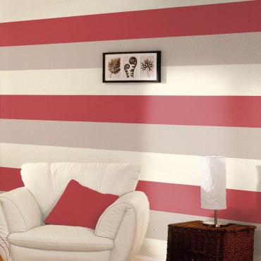 DWA058 - Stripe Wallpaper - Red / Cream / Grey - E40910