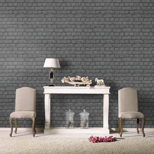 RAS025 - Rasch Black Brick Effect Wallpaper - 226744