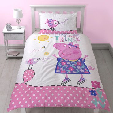 PPP271 - Peppa Pig Happy Single Duvet Cover and Pillowcase Set