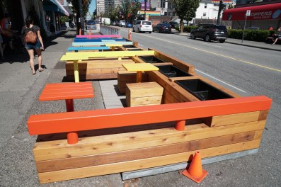 Pride Place Parklet, South side of Davie St., Note patio at far end