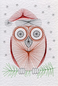 Owl with a Santa hat pattern at Stitching Cards