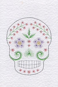 Sugar skull pattern at Stitching Cards