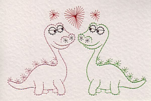 Valentines dinosaurs pattern at Stitching Cards