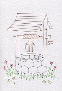 Wishing well pattern at Stitching Cards