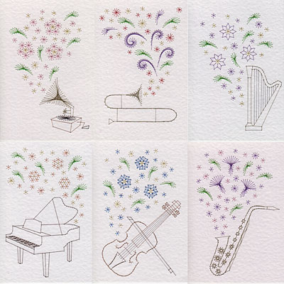 Musical flower patterns added at Stitching Cards