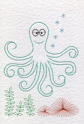 Octopus pattern at Stitching Cards