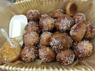 Orange brioche rolls with marmalade & butter