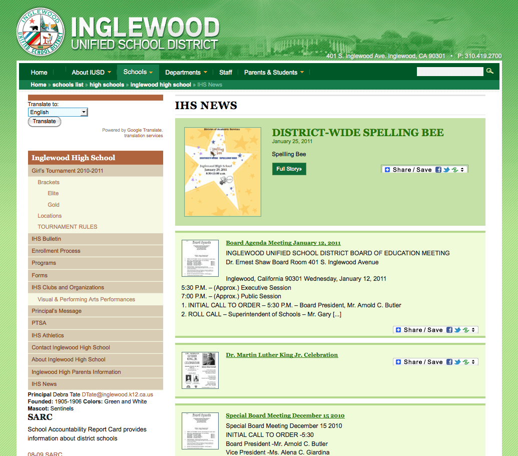 Inglewood Unified School District School News Page