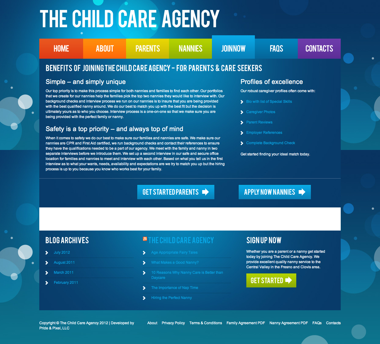 The Child Care Agency Join Now Page