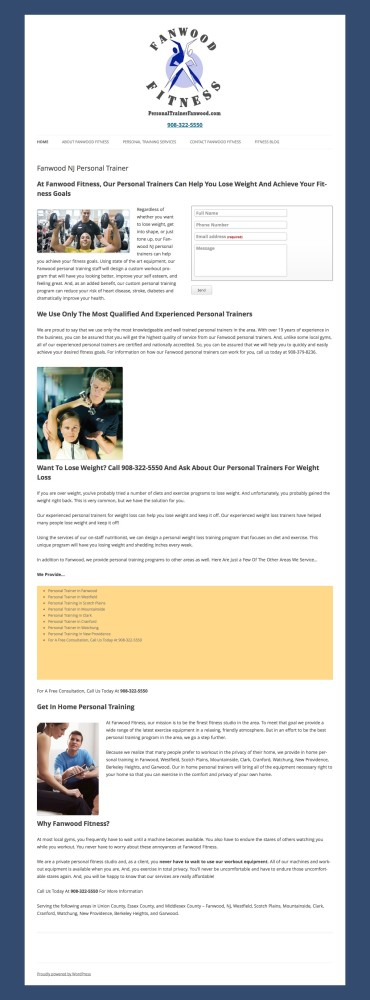 Old Personal Trainer Site Homepage
