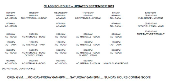 pride conditioning class and open gym schedule
