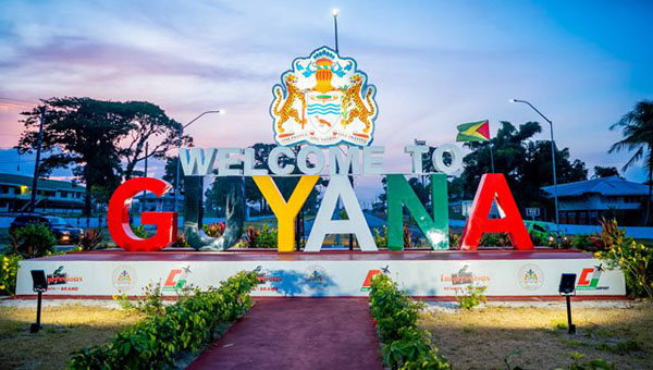 "First Lady Unveils $25M ""Welcome To Guyana"" Sign At Cheddi Jagan International Airport"