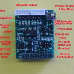 5 Pin Pci Express Adapter Pajero 2 8 Wiring Diagram Rs-pi Uln2803 Spi Ad / Da & I2c 1-wire Board (v2 P5 Support) For Raspberry Pi | Ebay
