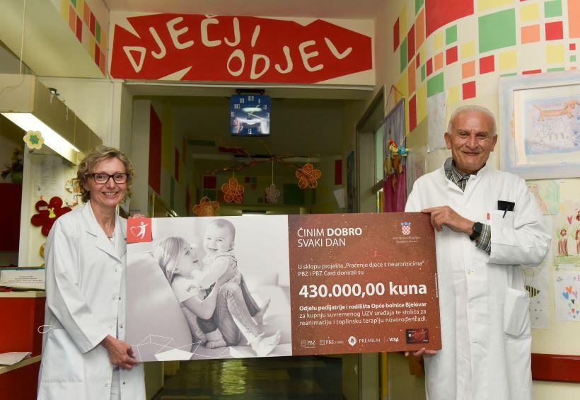 PBZ Grupa donirala 430 tisuća kuna Odjelu za pedijatriju i rodilište Opće bolnice Bjelovar