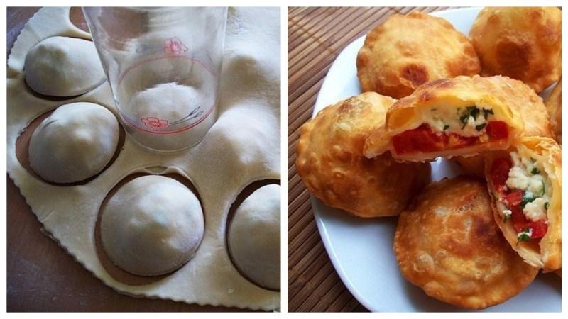 Пирожки без лепки с брынзой и помидорами