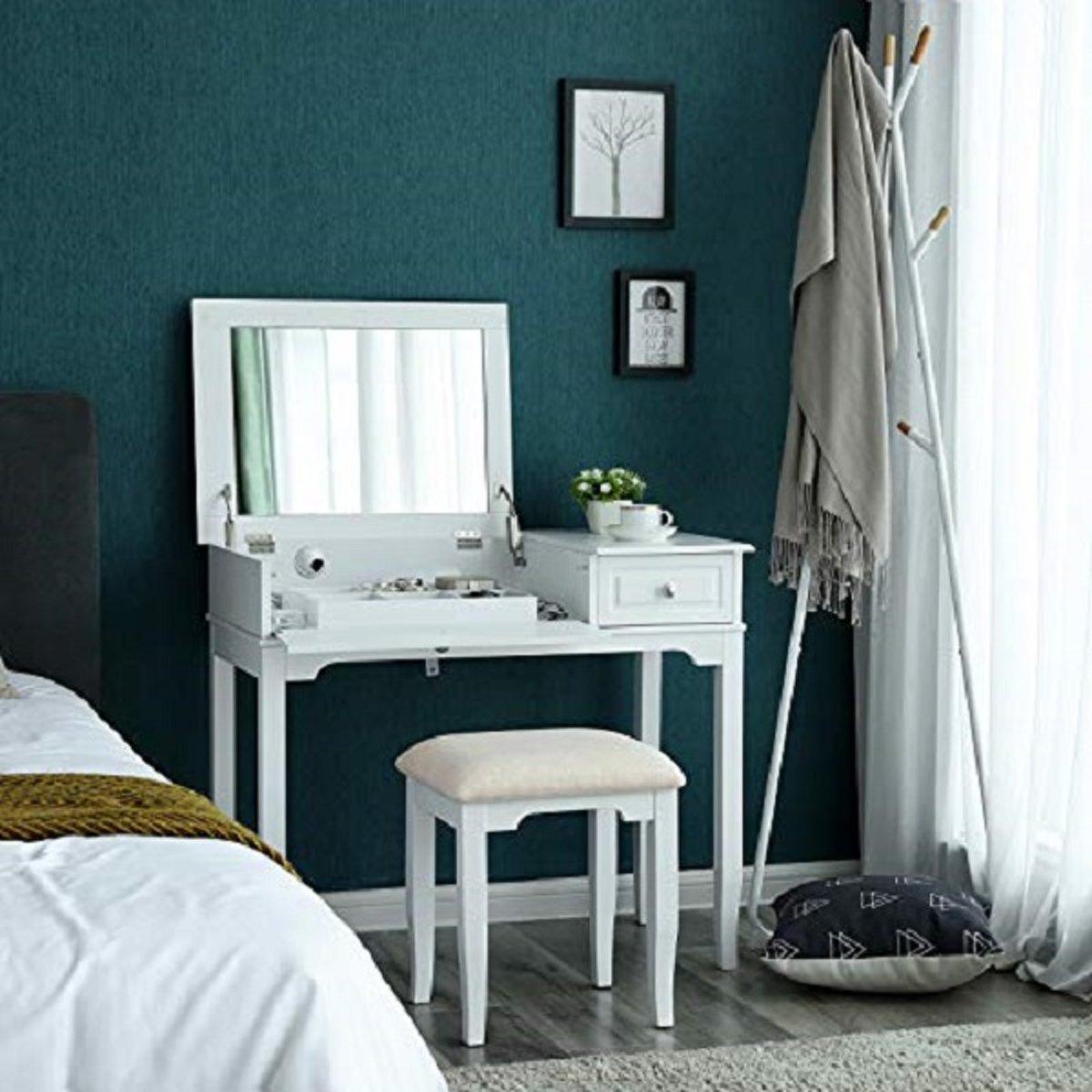 Moderne Witte Kaptafel.Kaptafel Groot Grote Spiegel Slaapkamer