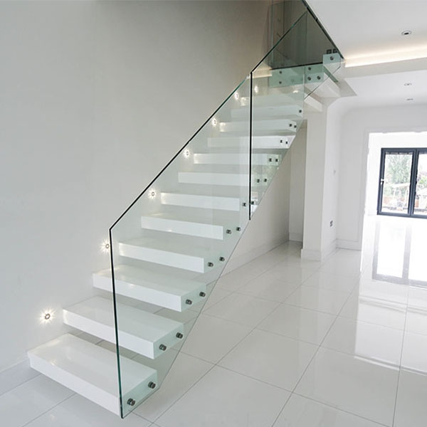Adorable Ivory White Prefabricated Floating Staircase With Pure   White Wood And Glass Staircase   Design   70'S   Thick Solid Oak Stair   Bannister   Indoor Glass