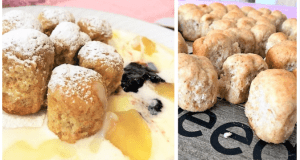 Recept na celozrnné dukátky s vanilkovo-smetanovým krémem, dušenými jablíčky a brusinkami