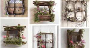 Inspirace na přírodní okénko z klacíků a rostlin!