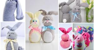 Inspirace na velikonoční zajíčky z barevných ponožek a rýže!