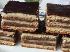 Recept na ořechový koláč s čokoládovou polevou a džemem
