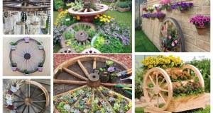 Proměňte staré dřevěné kolo v krásnou zahradní dekoraci