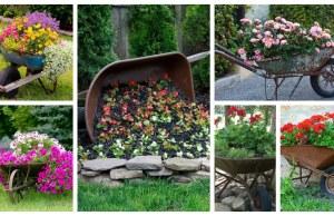 Jak proměnit rozbité zahradní kolečko v překrásné dekorace