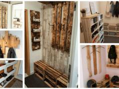 Věšák a botník z dřevěných palet