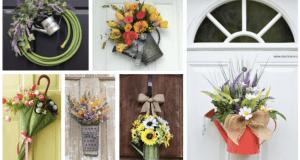 Dekorace na vchodové dveře: Využijte konve, struhadla či deštníky!