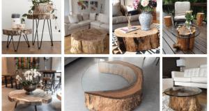 Inspirace na originální stolek! Využijte obyčejný odřezek z kmene stromu