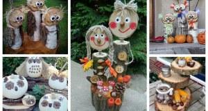 Krásné podzimní dekorace ze dřeva, šišek a dýní