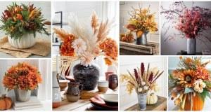 Květinové výzdoby stolu s podzimními prvky
