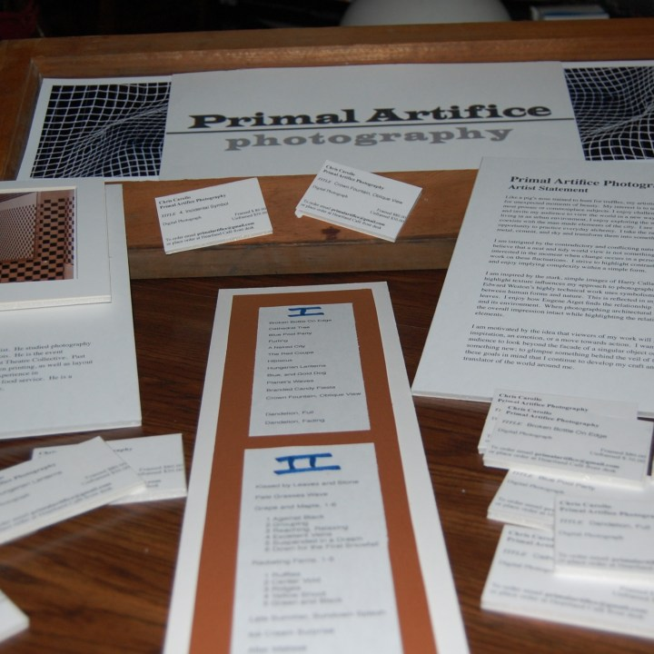 Title cards, title list and display header for my photo exhibit