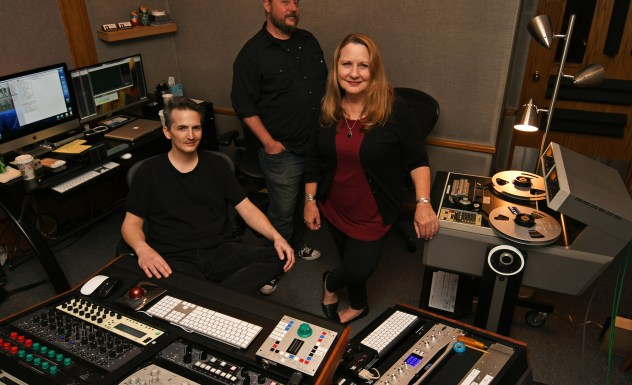 Warren Sokol, Lenise Bent, and Chris Wilson in the studio.