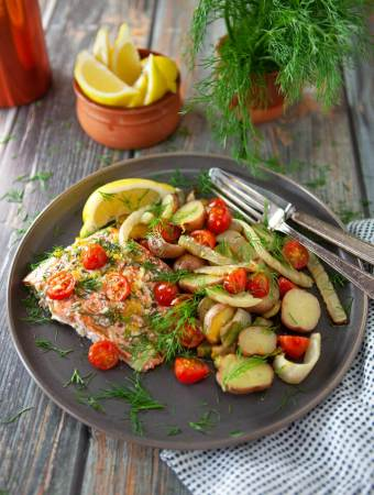 Roasted Salmon with Fennel Tomatoes and Potatoes