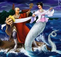 Modern illustration of Lady White and the Buddhist monk Fa Hai battling at Gold Mountain