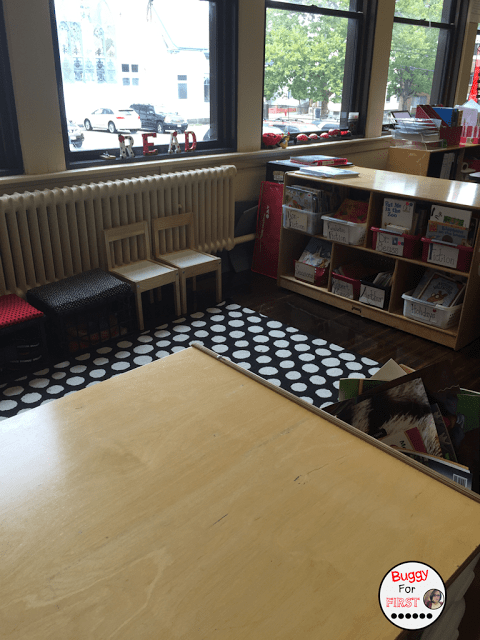 polka dot classroom, buggyforfirst, polka dots, ladybug classroom, first grade, classroom decor, classroom reveal, classroom library