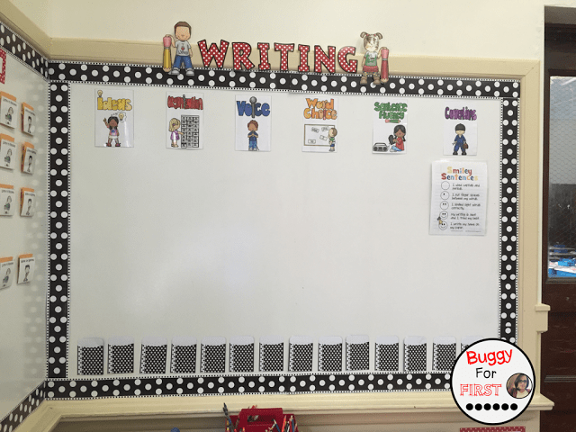 six traits of writing, polka dot classroom, buggyforfirst, polka dots, ladybug classroom, first grade, classroom decor, classroom reveal