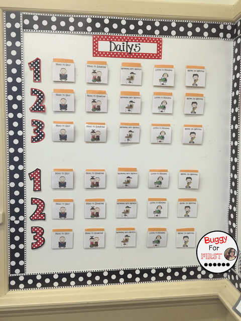 daily 5, polka dot classroom, buggyforfirst, polka dots, ladybug classroom, first grade, classroom decor, classroom reveal