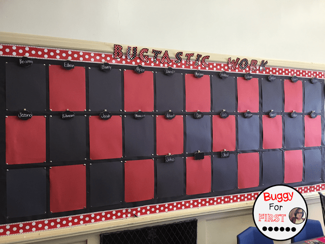 bulletin board, polka dot classroom, buggyforfirst, polka dots, ladybug classroom, first grade, classroom decor, classroom reveal
