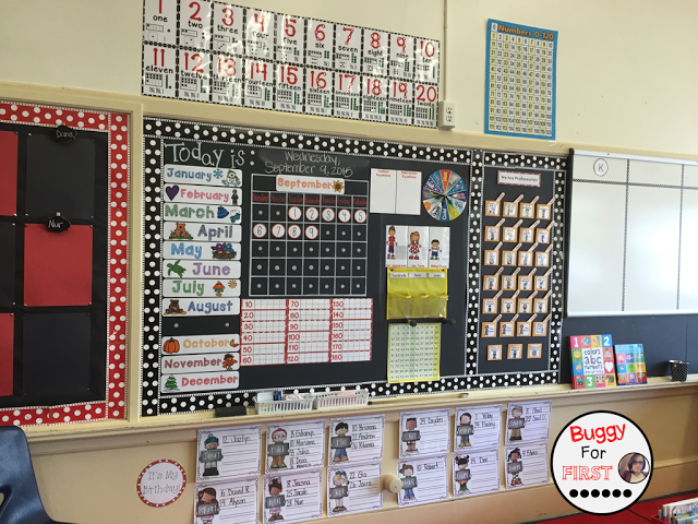 polka dot classroom, buggyforfirst, polka dots, ladybug classroom, first grade, classroom decor, classroom reveal