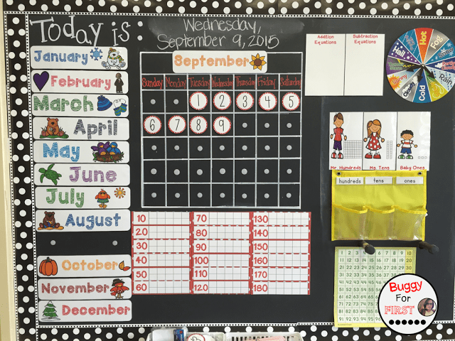 polka dot classroom, buggyforfirst, polka dots, ladybug classroom, first grade, bulletin board, calendar math, classroom decor, classroom reveal
