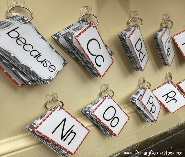 Portable word walls can easily be hung up on the wall with the use of binder rings. Look at how this teacher sets hers up.