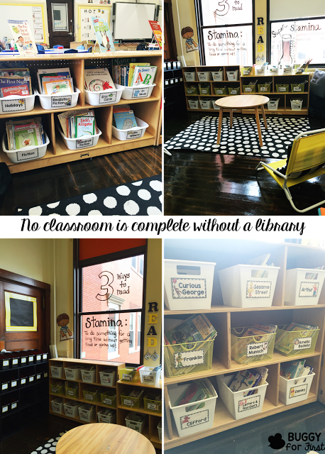 The library labeling system is so well thought out. My students would be so comfortable in this reading nook and would know exactly how to organize the books the correct way.