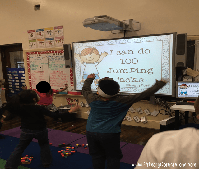 Get them moving on the 100th day of school with fun on the spot exercise challenges!