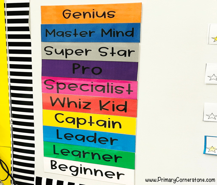 the levels of the super improvers' wall for whole brain teaching